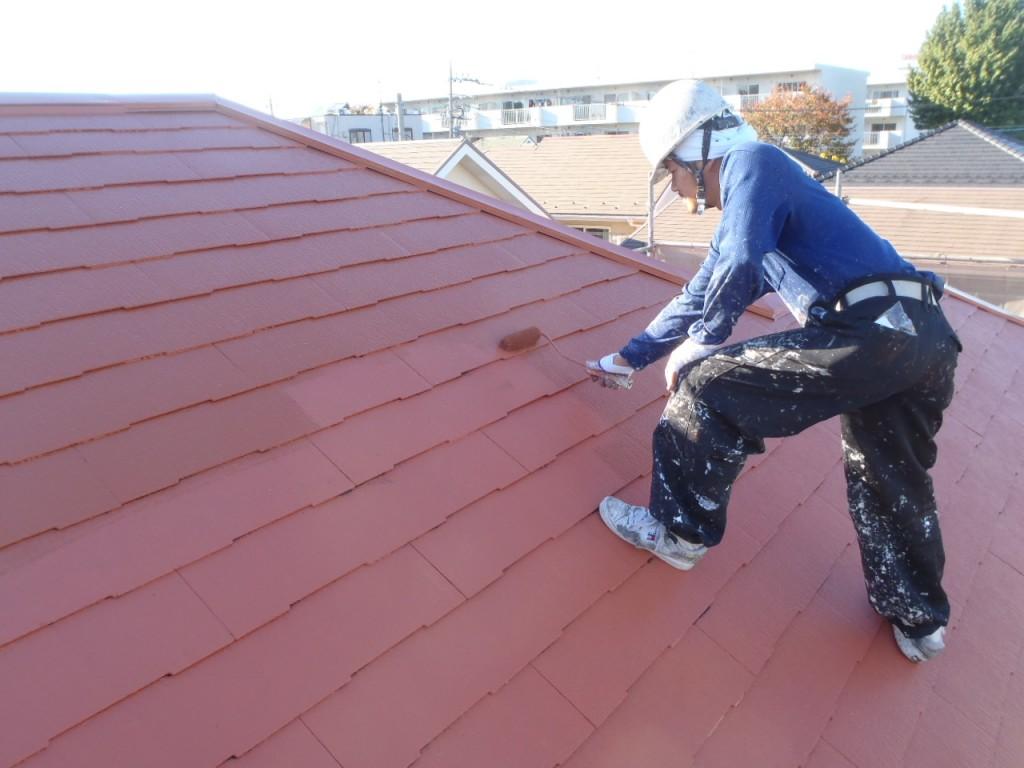 遮熱屋根塗装上塗り 屋根塗装