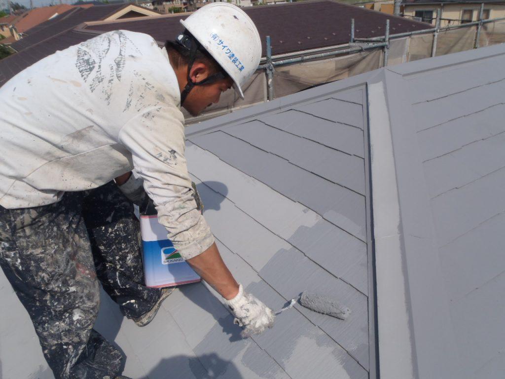 埼玉県,さいたま市,さいたま市西区,屋根外壁塗装,さいたま市外壁塗装,外壁塗装,屋根塗装,遮断熱塗料ガイナ,ガイナ,上塗り