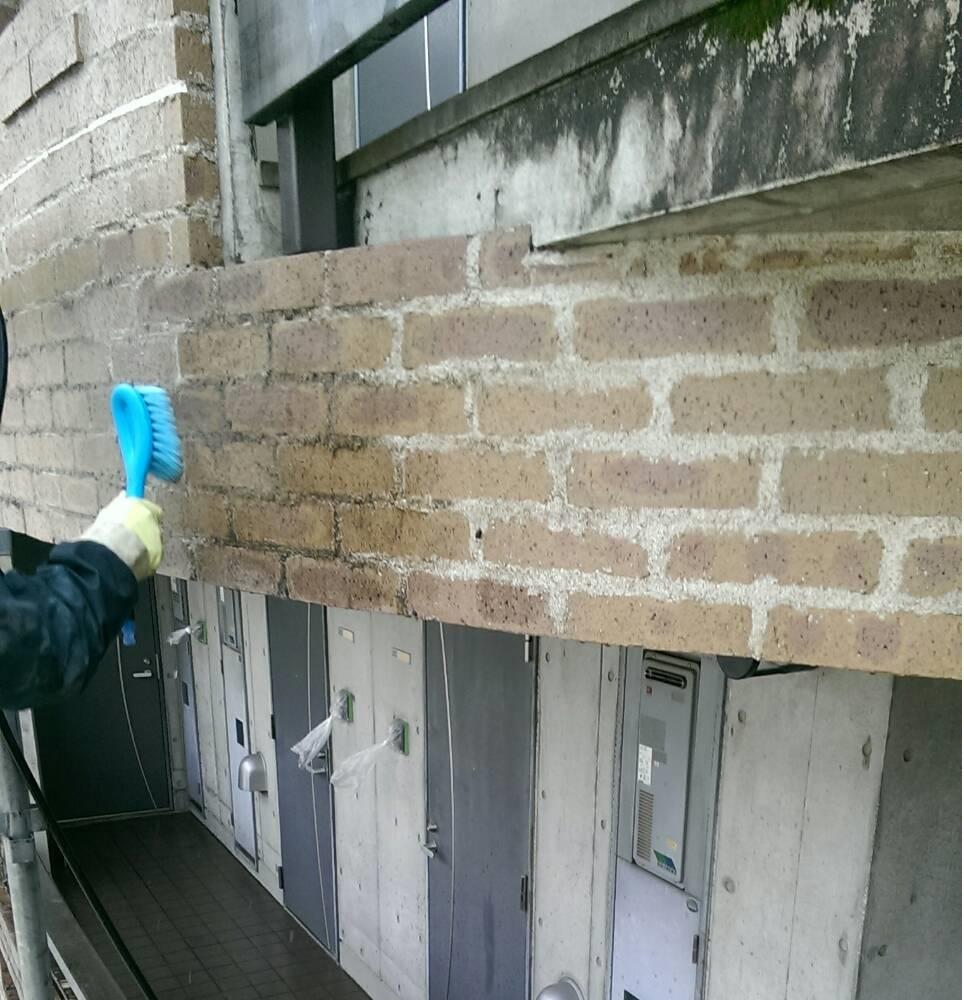 煉瓦タイル薬品洗浄 特殊薬品塗布 タイル洗浄