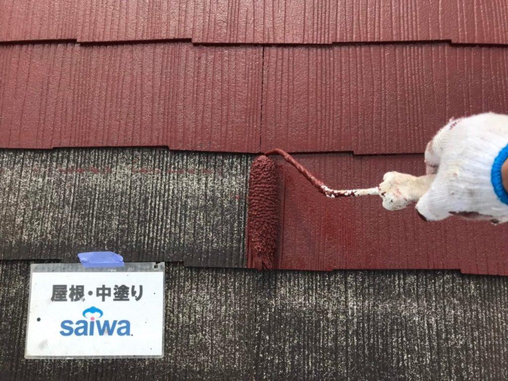 屋根中塗り 屋根塗装