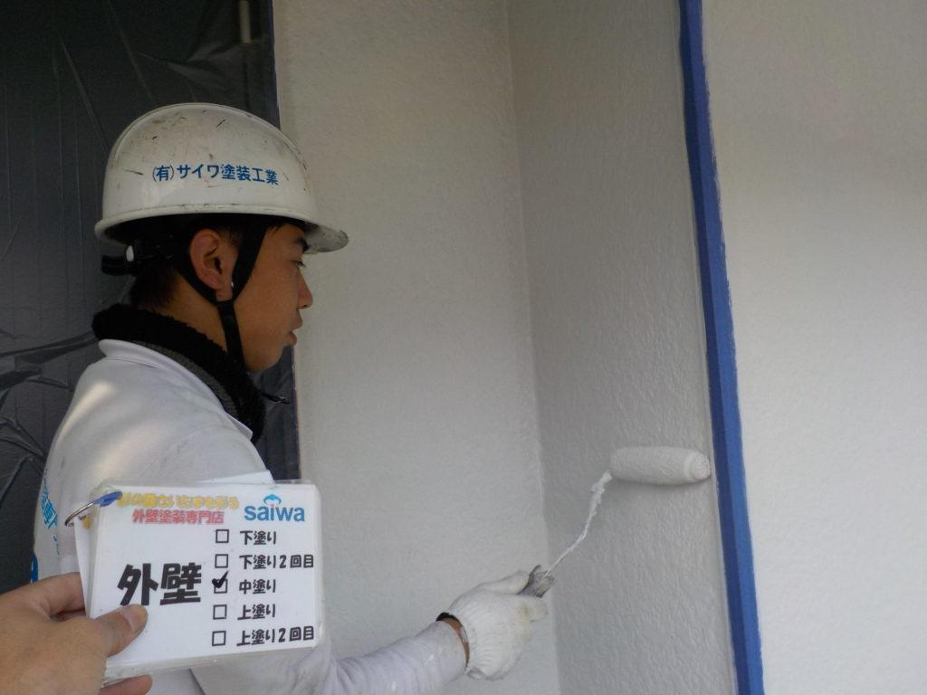 外壁中塗り 外壁塗装 ガイナ