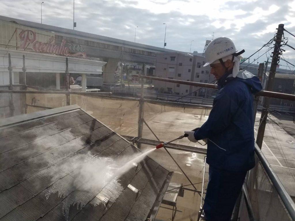屋根施工前 屋根の塗装 洗浄 高圧水洗浄