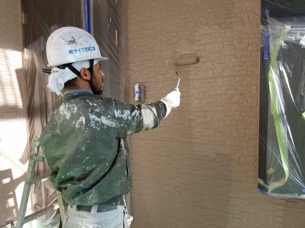 外壁塗装 外壁上塗り アステック塗装