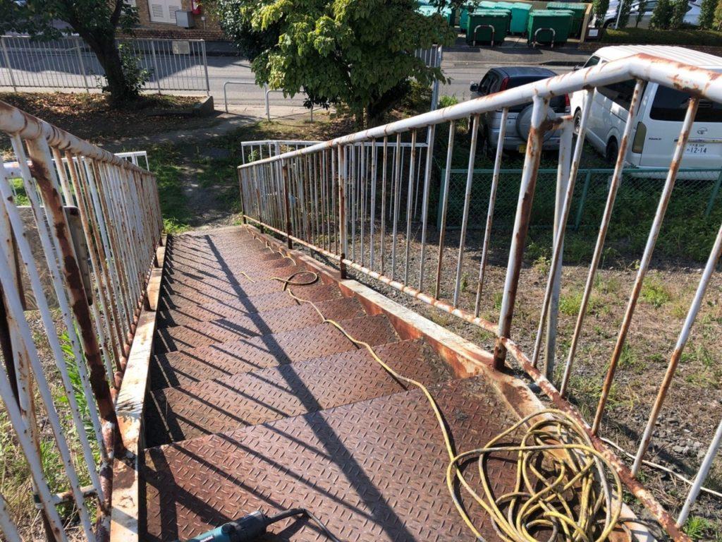 階段塗装 さいたま市西区 鉄骨階段 けやき台