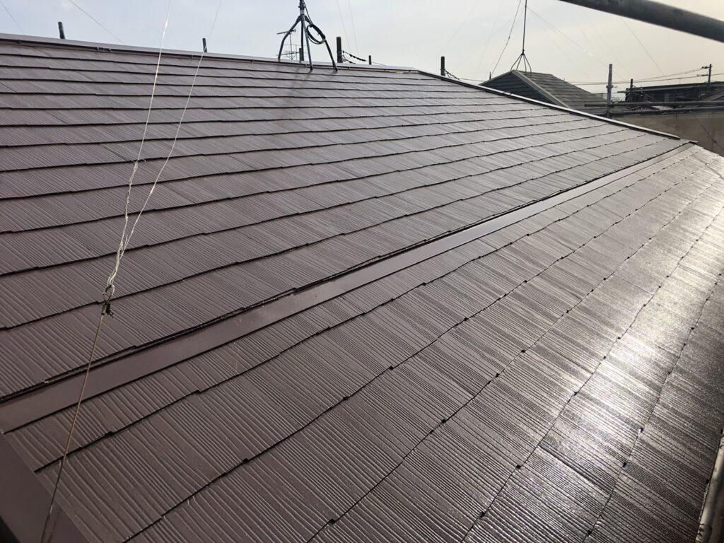 屋根の塗装 上塗り サーモアイsI 遮熱塗料 クールナポリブラウン