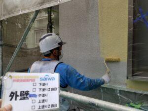 外壁塗装 さいたま市西区 サイワ塗装工業 黄色 壁