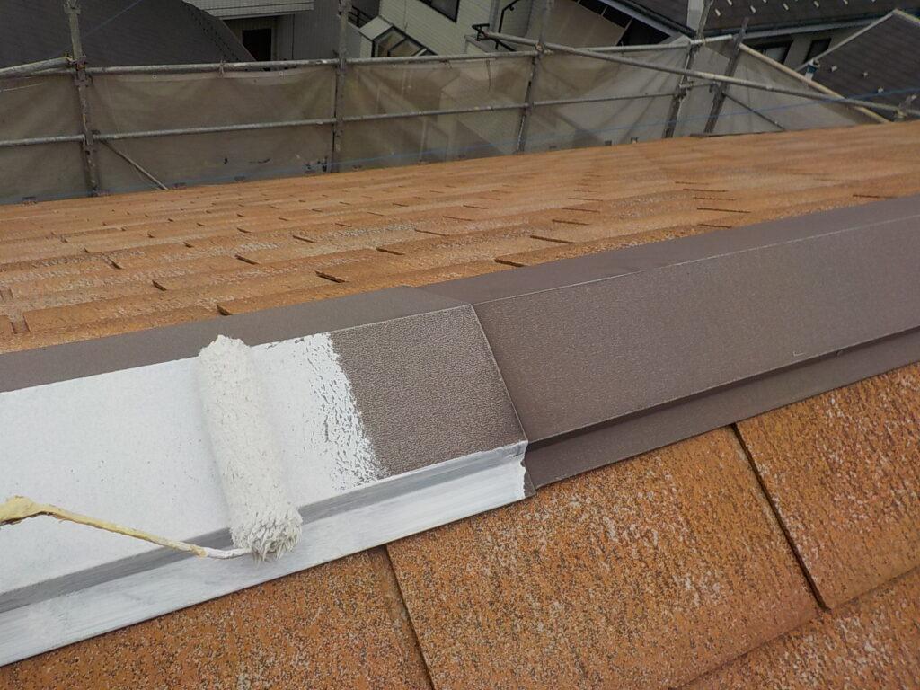 屋根 棟板金 錆止め塗布 さいたま市 塗装