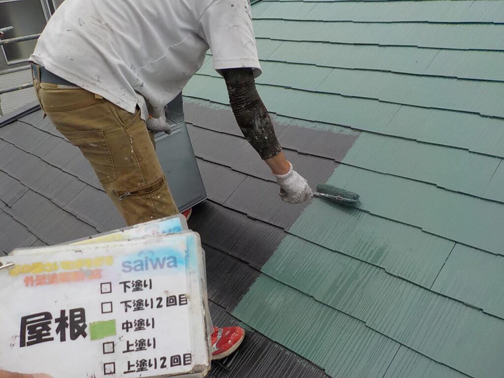 屋根中塗り 塗装 外壁塗装