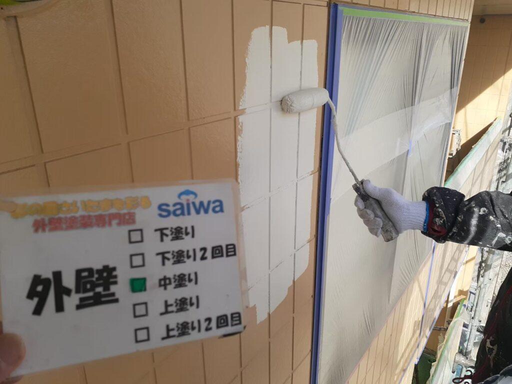 外壁 上塗り パーフェクトトップND-376 さいたま市 屋根塗装 外壁塗装 アパート塗装
