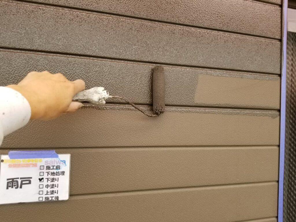雨戸の塗装 下塗り 外壁塗装