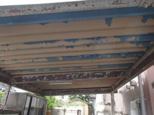 駐車スペース 塗膜の劣化 塗膜剥がれ