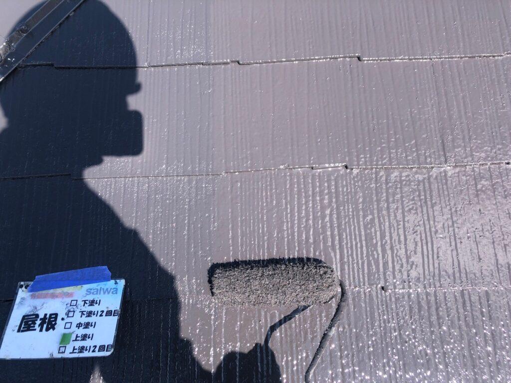 屋根塗装 上塗り 塗装 さいたま市塗装工事